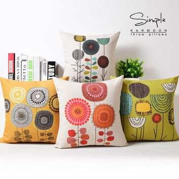 New Floral Dandelion Cushion Cover Linen Orange Yellow Green Garden Country Throw Pillow Case Decorative Sofa Car Seat Cushions