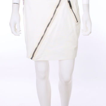 Burberry London Exposed Zipper Winter White Mini Skirt Size 6