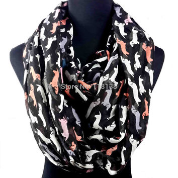 Multicolored Dog Dachshund Print Infinity Loop Scarf Snood Scarves Women's Accessories Gift, Free Shipping