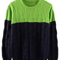 Color Block Ribbed Trim Knitted Pullover Sweater