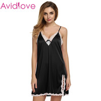 Ekouaer Sexy Satin Sleepwear Silk Sexy Nightgown Women Nightdress Sexy Lingerie Plus Size S M L XL XXL Female Nightie