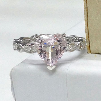 Morganite Engagement Ring 14K White Gold!Diamond Wedding Bridal Ring,Art Deco Antique,8mm Heart Shaped Cut Pink Morganite,Can matching band