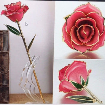 Hot New Genuine Rose Preserved Dipped in 24K Gold Rose Gifts for her valentine