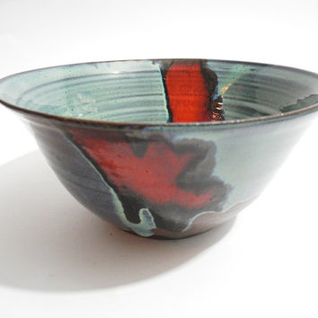 Large Bowl, Serving Bowl, Ceramic Fruit Bowl, Salad Bowl, Home Decor - Handmade Blue and Red Pottery