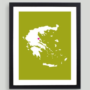My Heart Resides In Greece Art Print - Any City, Town, Country or State Map Customized Silhouette Gift