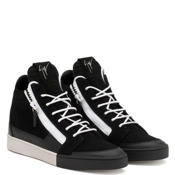 Giuseppe Zanotti Gz Jess Black Calf Leather And Black Suede Mid-top Sneaker