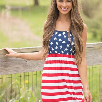 Women Stars and Stripes Maxi Dress Sleeveless USA Independence Day American Flag Pattern short Dress Loungewear Tank Dress