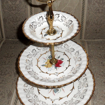 1960's THREE TIERED CAKE Stand/ Wood N Sons / Made In England / Vintage China Three Tiered Cake Stand / Ornately Trimmed with 22K Gold
