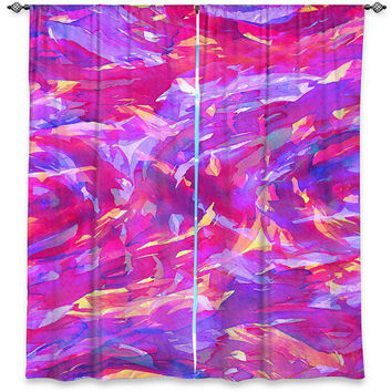 MOTLEY FLOW 1 - PINK Art Ombre Window Curtains Multiple Sizes Magenta Purple Abstract Girly Decor Bedroom Kitchen Lined Unlined Woven Fabric
