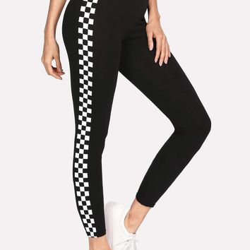 Checkered Sideseam Stretch Leggings
