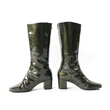 90s boots, 90's vintage dark green patent leather tapered square toe chunky heel tall boots, chelsea boots, womens 8, 38 - 39