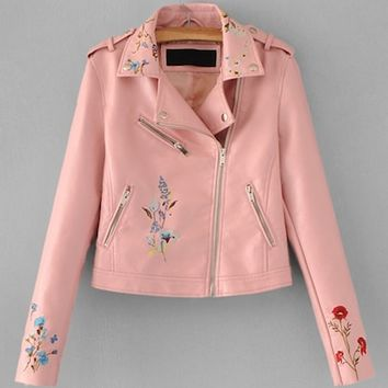 Flower Embroidery Moto Jacket