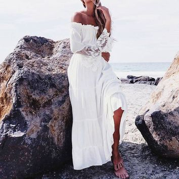 Women Sexy Lace Patchwork Maxi Long Dress 2017 Slash Neck Off Shoulder Flare Sleeve Beach Party White Dresses Robe Vestidos