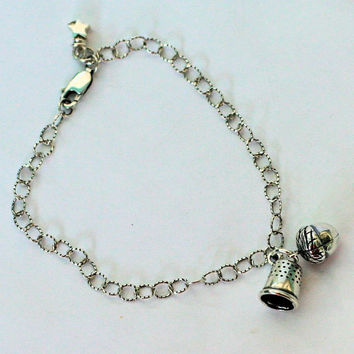 Acorn and Thimble Sterling Silver Bracelet - Second Star Right - Peter Pan and Wendy