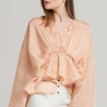 Linda Draped Shawl Blouse Discover the latest fashion trends online at storets.com