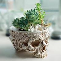 Hand Carved Skull Flower Pot Human Skull Bone Bowl Home Garden Decor Halloween Decoration
