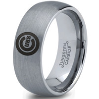 Chicago Cubs Silver Brushed Dome Tungsten Ring