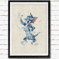 Tom Cat Watercolor Print, Tom and Jerry Baby Girl Nursery Decor, Wall Art, Home Decor, Gift Idea, Not Framed, Buy 2 Get 1 Free!