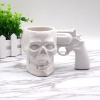 Cool Skull & Pistol White Ceramic Mug