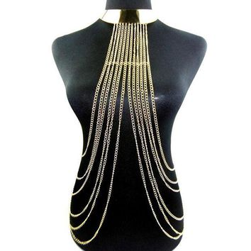 ac PEAPO2Q Women Collares Vintage Punk 2016 Necklace Long Chain Gold Body Chains Jewelry Collar Chokers Ladies Multilayer Lace Necklace