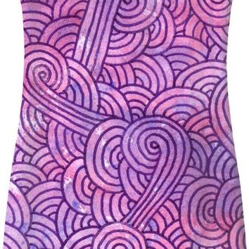 Neon pink and purple swirls doodles Simple Dress