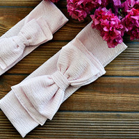 Pink Turban Set of Two Mother and Daughter Headband, Boho Headband, Bow Tie Hairband for Woman and Girls