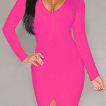 Fuchsia Hot Pink Long Sleeve Deep V Neck Front Slit Bodycon Midi Dress
