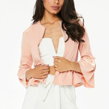 Crop Blazer with Ruffle Hem and Sleeve Cuff