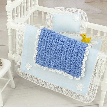Dollhouse Baby Room, Blue Bedroom, Mini Baby Blanket, Crib Afghan, Bedding Set, Artisan Miniatures, Dolls Nursery Accessory, One Inch Scale