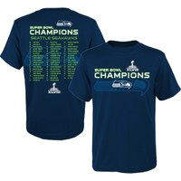 NFL Team Apparel Youth Seattle Seahawks Super Bowl XLVIII Champions Roster T-Shirt