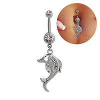 New Charming Dangle Crystal Navel Belly Ring Bling Barbell Button Ring Piercing Body Jewelry = 4672696068