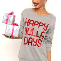 Long Sleeve French Terry Tunic Top with Happy Holla Days Screen