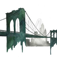 Brooklyn Bridge, Watercolor Print of original painting for home decor and wall art