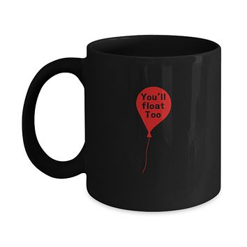 You'll Float Too Red Balloon Scary Clown Movie Drinking Coffee Mug