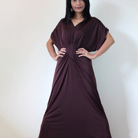 Long Kimono Dress Tube Maxi Dark Maroon Brown Elegant by madoosika