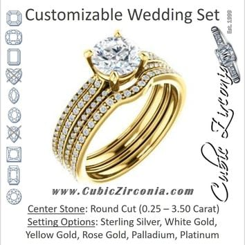 CZ Wedding Set, featuring The Isidora engagement ring (Customizable Round Cut Center with Wide Triple Pavé Band)