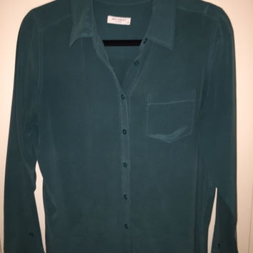 Equipment Silk Blouse   Teal Size M