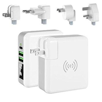 World Wide Multi- Power Gizmo with Wireless Charger and Stored Power Bank
