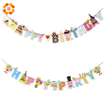 1 Set Happy Party/Birthday Paper Flag Party Bell Garland Decoration Banner Bunting For Kids Birthdays Party Supplies Decorations