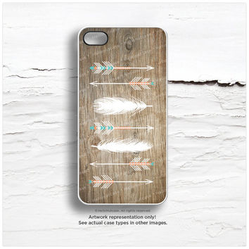 iPhone 6 Case, iPhone 5C Case Tribal, iPhone 5s Case Feathers, iPhone 4s Case, Tribal Arrows iPhone 5 Case, Wood TOUGH iPhone 5 Cover I127