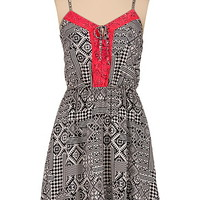 tribal print tank dress with neon lace trim