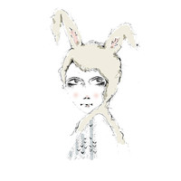 Bunny Tribe Strange Art Girl Portrait Illustration Fine Art Print Home Decor Wall Art Surreal Art Decor