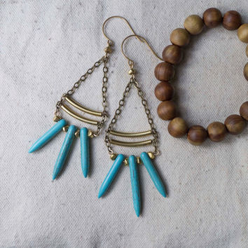 Turquoise chandelier earrings, long boho earrings, chain, turquoise spike, ladder, summer accessories