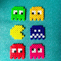 Pacman Magnet or Wall Art Set: Perler Beads