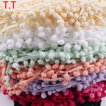 Lace Fabric 10 Yard/lot 10mm Sewing Accessories Pompom Trim Pom Pom Decoration Tassel Ball Fringe Ribbon DIY Material Apparel