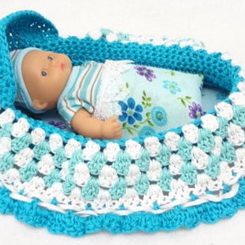 cradle purse, itty bitty baby doll, hand crochet, church purse, BG#37
