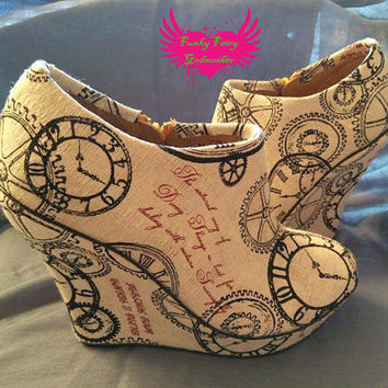 Cogsworth - fabric covered Wedges/boots