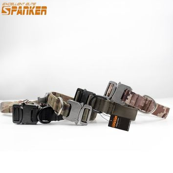 SPANKER 1 Inch Wide Cool Army Tactical Military Dog Collars Bow Adjustable Nylon Pet Collar Puppy Cloker Dog Harness Durable