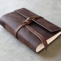Dark Chocolate Brown Leather Journal or Sketchbook