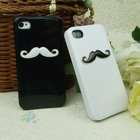 Two pieces 3D Chaplin mustache Case Cover Shell For iPhone 4 4S 4GS lovers & couple HZ